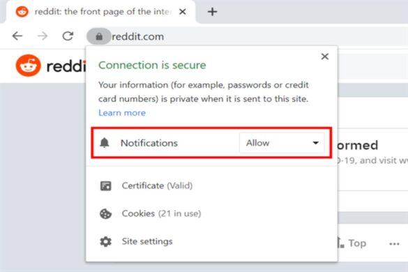 Turn off Reddit notifications Chrome